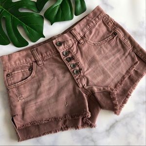 Free People Runaway Slouch Cut-Off Mauve Shorts